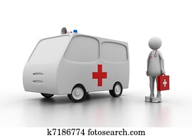 Doctor with ambulance.