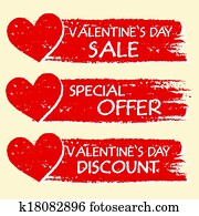 valentines day sale and discount, special offer - text with hearts in three red drawn banners