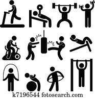 athletische, sportraum, turnhalle, übung