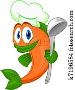 Cartoon cook fish