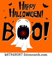 Halloween illustration - ghost shouting boo