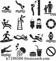 schwimmbad, meer, sandstrand, symbol, symbol
