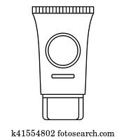 Cream tube icon, outline style