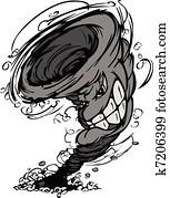 Storm Tornado Mascot Vector Cartoo