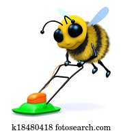 3d Bee mows the lawn.