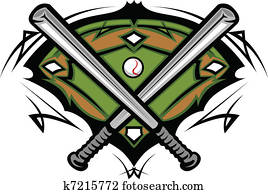 Baseball Field with Crossed Bats