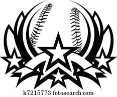 baseball, vektorgrafik, schablone