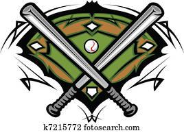 baseballfeld, mit, gekreuzte, flederm?use