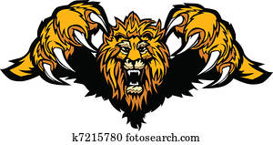 Lion Mascot Pouncing Graphic Vector