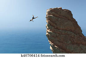 Man jumps into the ocean