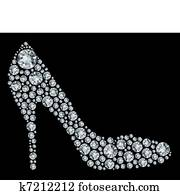 Shoes shape made up a lot of diamon