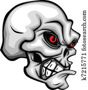 Skull Cartoon with Red Eyes