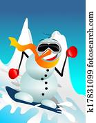 Snowman on Snowboard