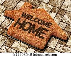 Welcome home doormat standing on the ground. 3D illustration