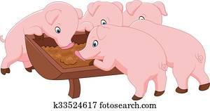glücklich, bauernhof, schwein