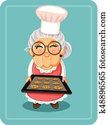 Grandma Baking Chocolate Chips Cookies Vector Illustration