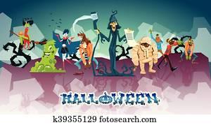Halloween Monsters Collection Set Zombie Vampire Ghost Death Grim Reaper Werewolf