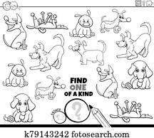 one of a kind task with dogs coloring book page