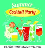 summer, cocktails, parteischablone