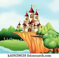 Castle towers on the cliff