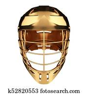 Golden Lacrosse helmet. Front view.