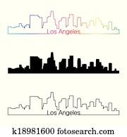 Los Angeles skyline linear style with rainbow