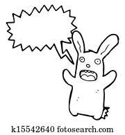 cartoon frightened rabbit