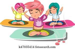 People doing yoga and meditation poster