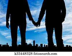 Silhouette happy gay men holding hands