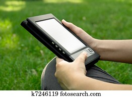 Young Woman Reading on eBook