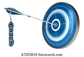 Arrow hitting the center of a target. The word coach is fixed on the arrow, the image is isolated on white background