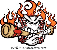 Baseball Flaming Face Biting Bat
