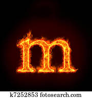 fire alphabets, small letter m