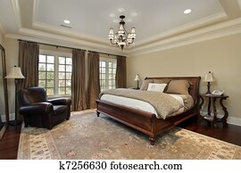 Master bedroom with tray ceiling