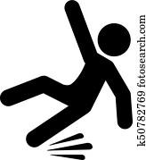 Slippery road vector pictogram
