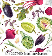 Watercolor vegetable pattern