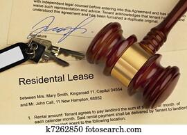 Apartment keys and rental agreement