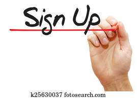 Hand writing Sign Up, business concept