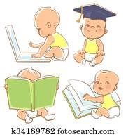 niedlich, klein, baby, learning.