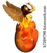 Phoenix Woman Reborn from the Flame