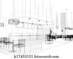 sketch design of restaurant
