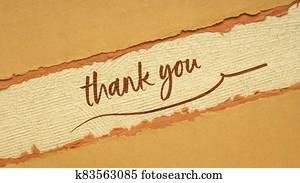 thank you handwriting on a handmade paper