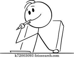 vektor, karikatur, von, kreativ, mann, oder, gesch?ftsmann, oder, schriftsteller, denken, über, etwas, mit, kugelschreiber, in, mundbereich