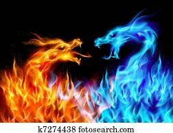 blau rot, feuer, drachen