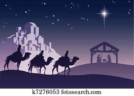 christliche, weihnachtsnativityszene
