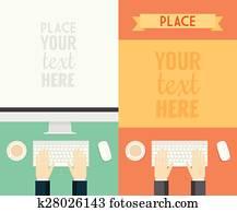 Flat Design Concepts Web Banner Promotional Trendy