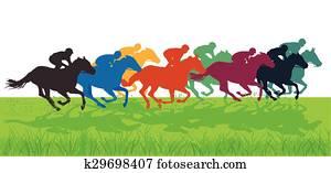 Galloping horses with jockeys