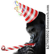 Gorilla party animal with a hat