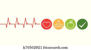 healthy lifestyle concept cardiology with heart yoga and green apple