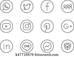 Moscow, Russia - April 20, 2017: Collection of lineart black round social media icons printed on paper: Facebook, Twitter, Instagram, Linked In, and others